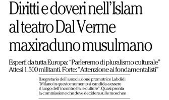"La Repubblica: ""Al teatro Dal Verme maxiraduno musulmano"""