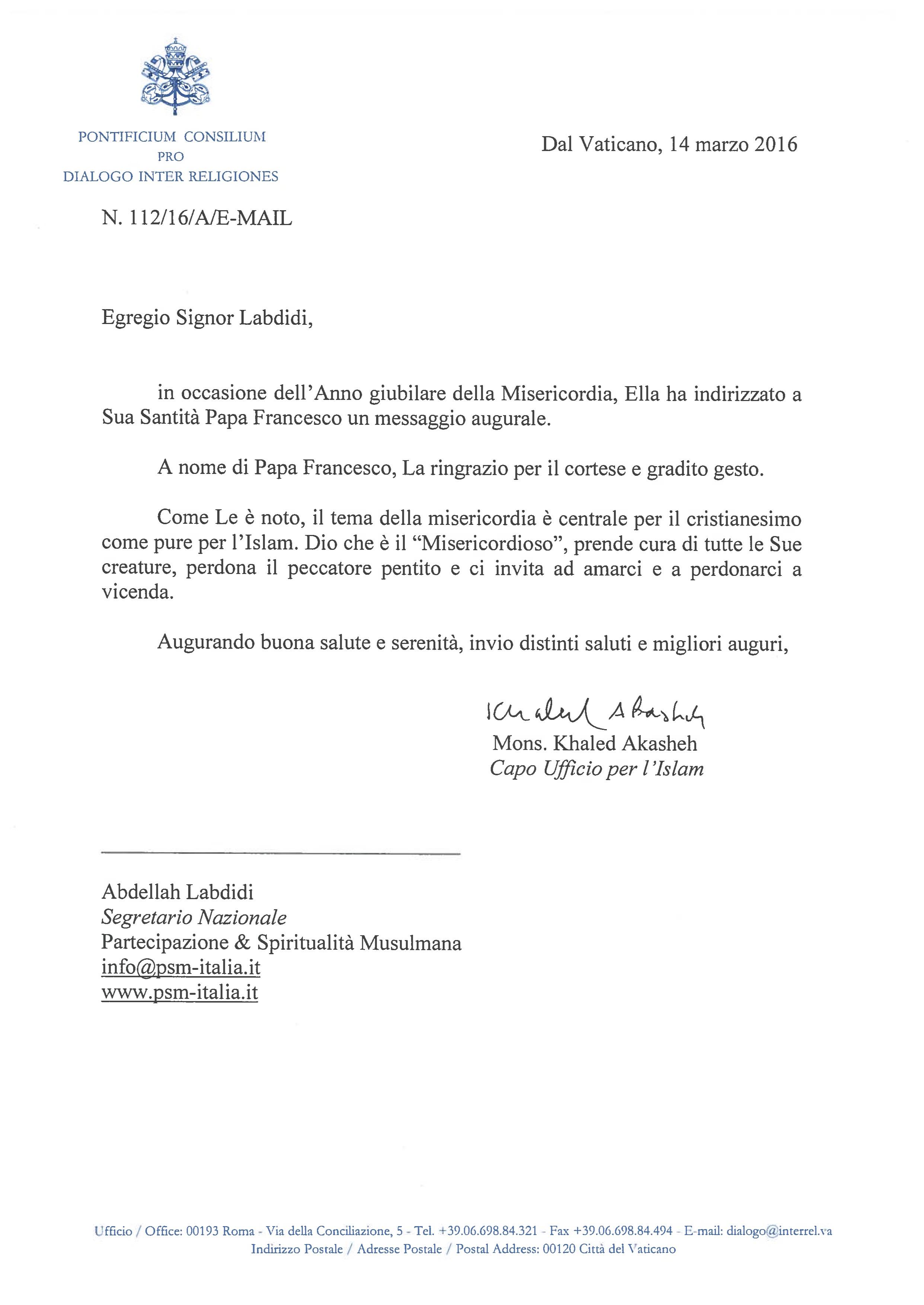 risposta del vaticano alla lettera di auguri per il